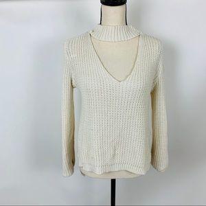 Boohoo white choker collar long sleeve sweater